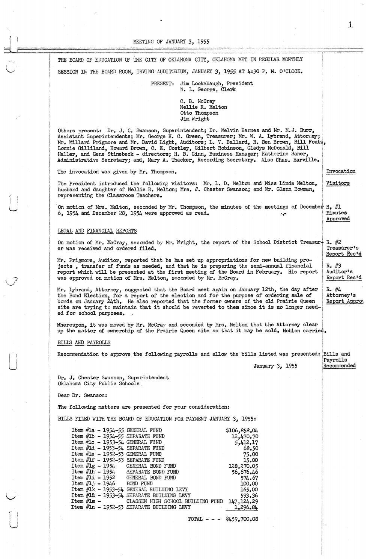Oklahoma City Public Schools Board Meeting Minutes 1955 By