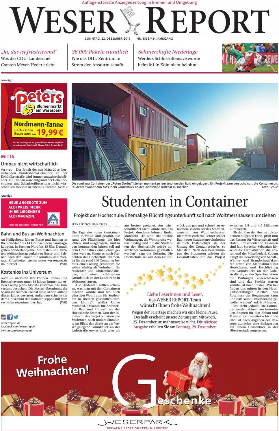 Weser Report Mitte vom 22.12.2019 by KPS