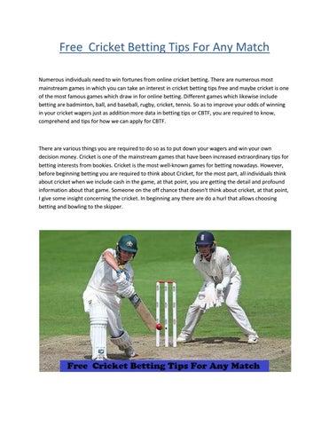 Free winning match cricket betting tips robert bettinger las vegas