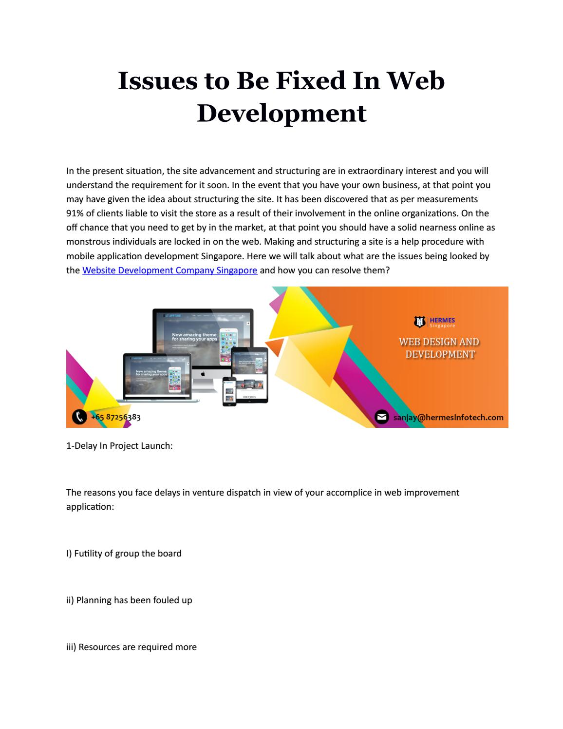 Issues To Be Fixed In Web Development By Hermes Infotech Issuu