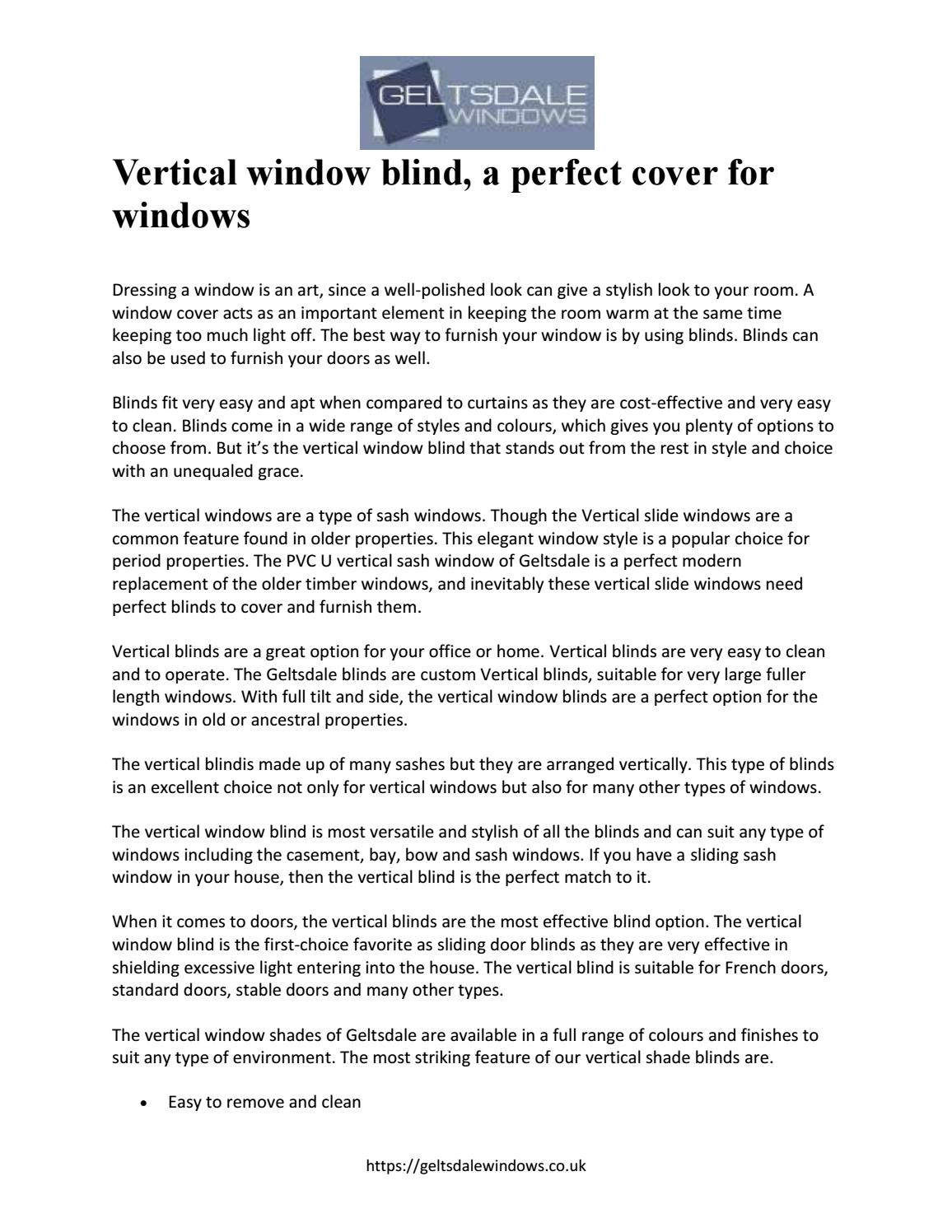Vertical Window Blind A Perfect Cover