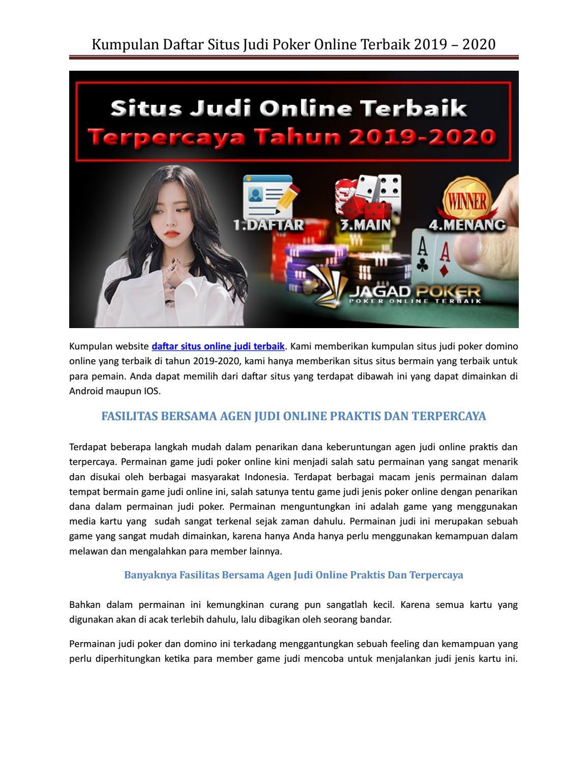 Kumpulan Daftar Situs Judi Poker Online Terbaik 2019 2020 By Pokerpkvgames Com Issuu