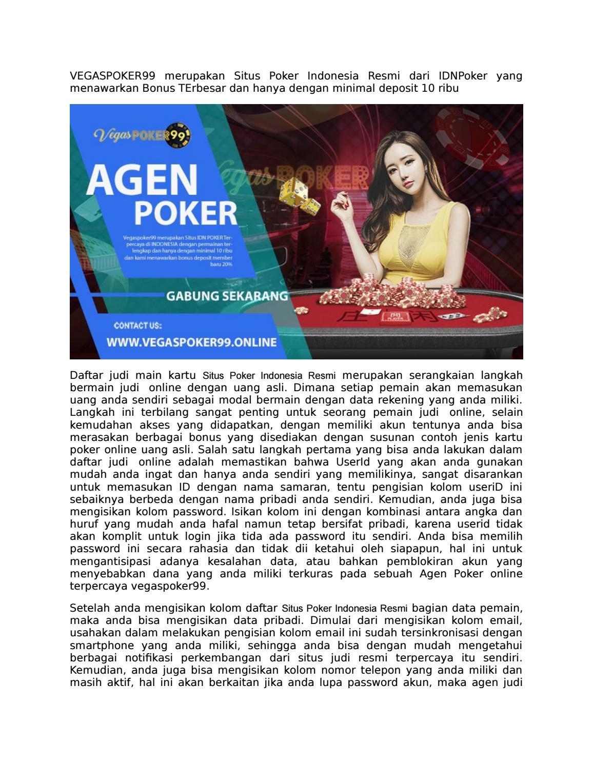 Situs Poker Indonesia Resmi Minimal Deposit 25 Ribu By Vegaspoker99 Issuu