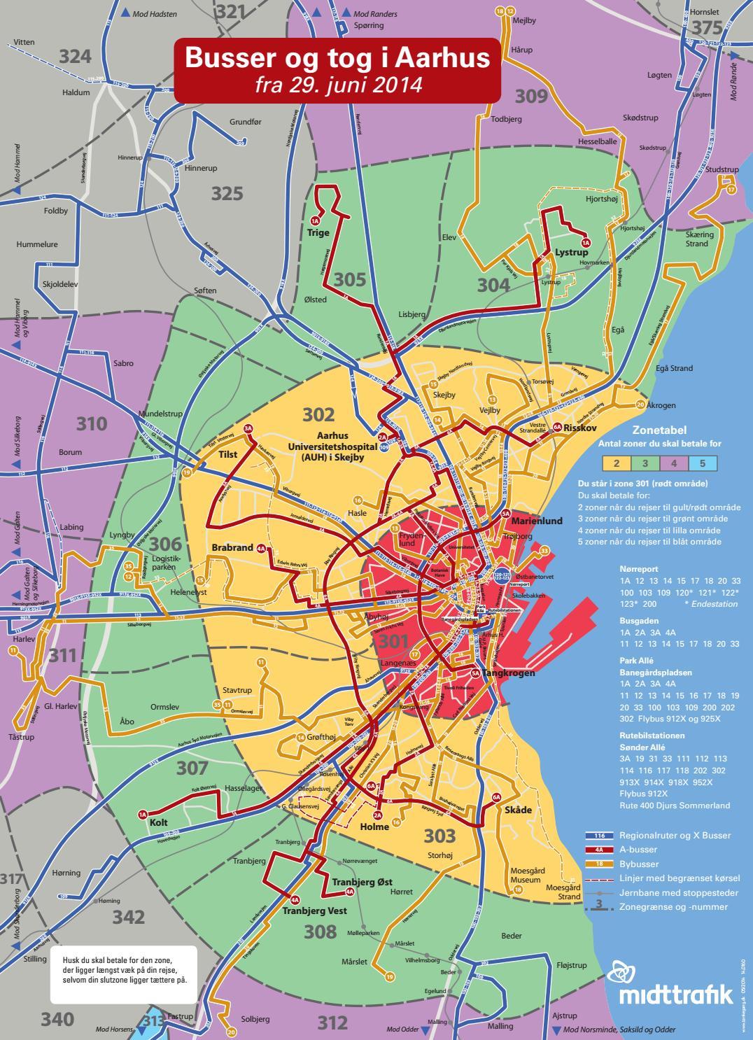 Midttrafik zonekort Midttrafik