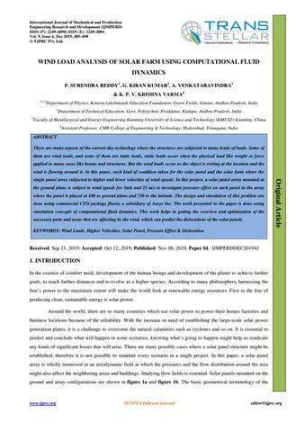 Wind Load Analysis Of Solar Farm Using Computational Fluid