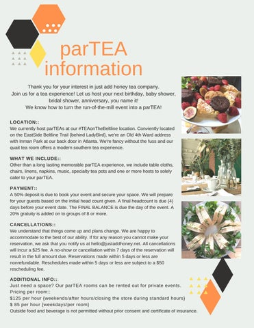 Page 2 of parTEA with just add honey tea company