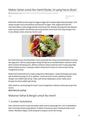 Makan Sehat Untuk Ibu Hamil Muda Ini Yang Harus Dicari By Batik