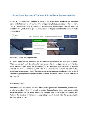 Docscreator Free Download Rental Lease Agreement Template By Docs Creator Issuu