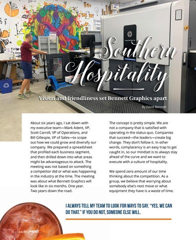 Page 6 of Southern Hospitality \ Southern Hospitality \ Vision and friendliness set Bennett Graphics apart