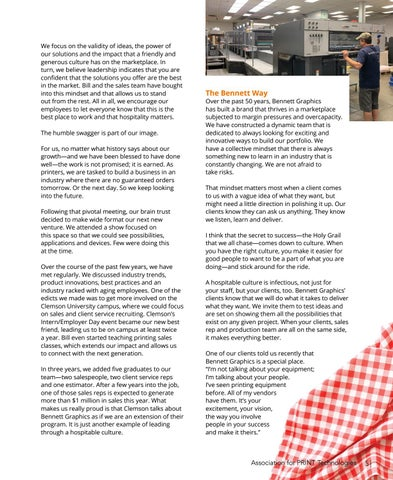 Page 7 of Southern Hospitality \ Southern Hospitality \ Vision and friendliness set Bennett Graphics apart