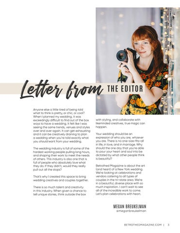 Page 3 of Letter from the Editor of Betrothed Magazine