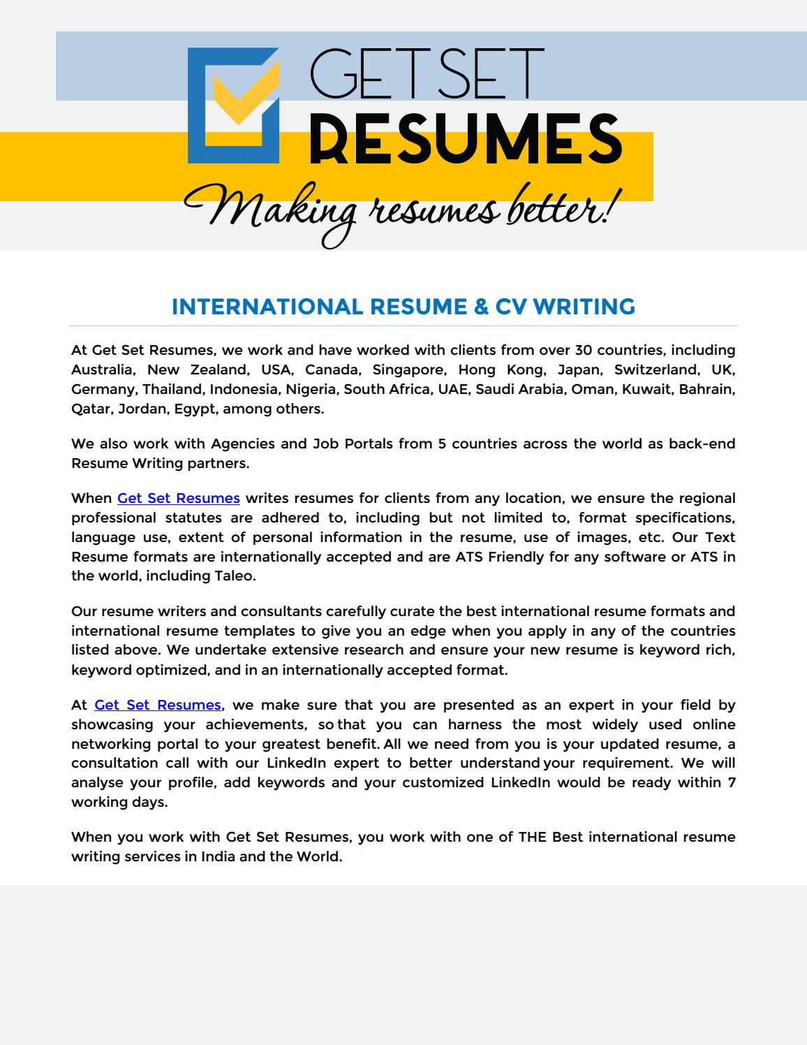 International Resume Writing Service Get Set Resumes By Get Set