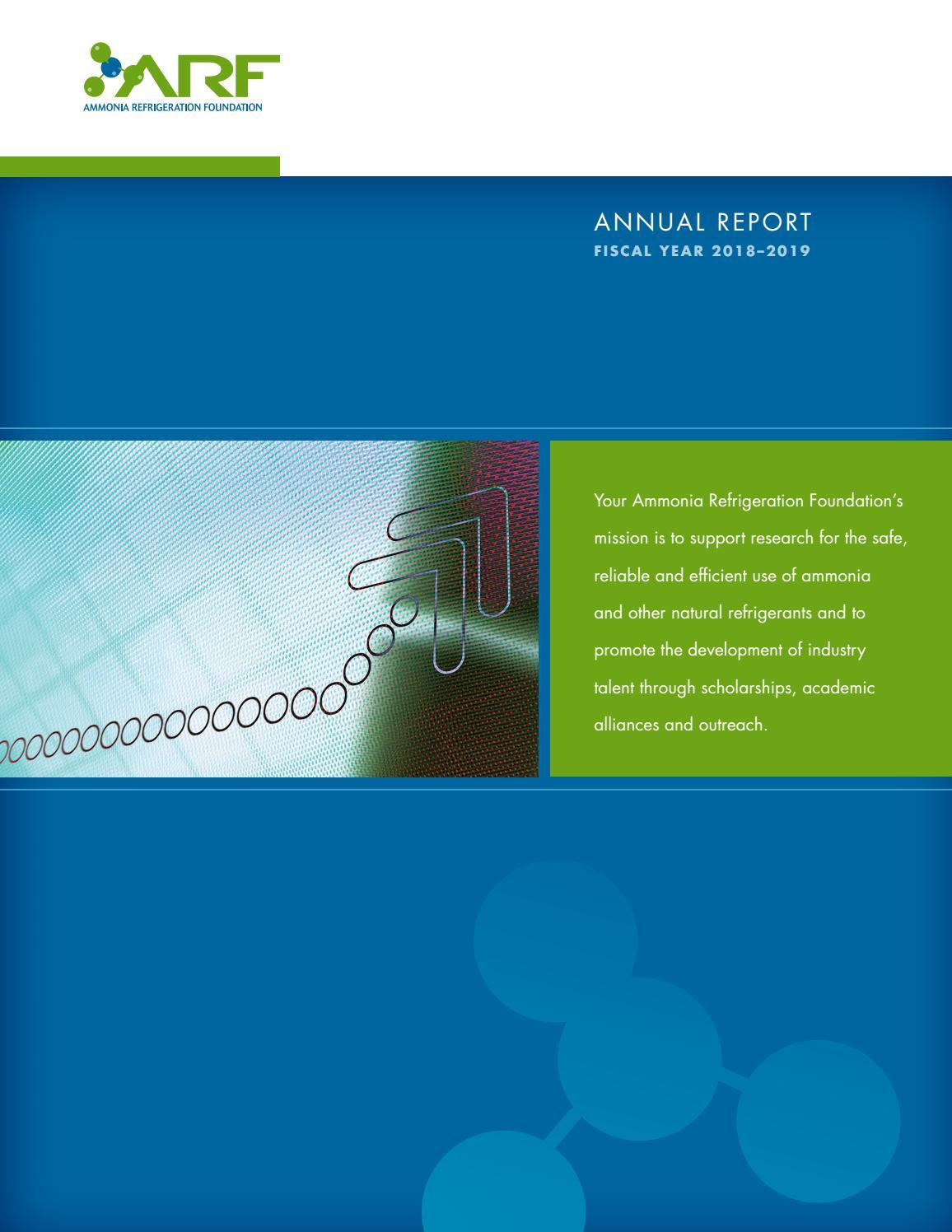 Ammonia Refrigeration Foundation Annual Report 2018 2019 By Editor Iiar Issuu