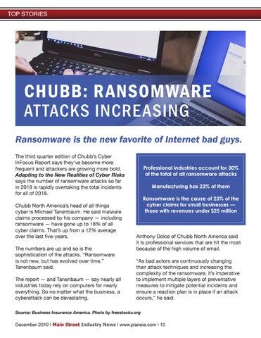 Page 10 of CHUBB: RANSOMWARE AT TACKS INCRE ASING