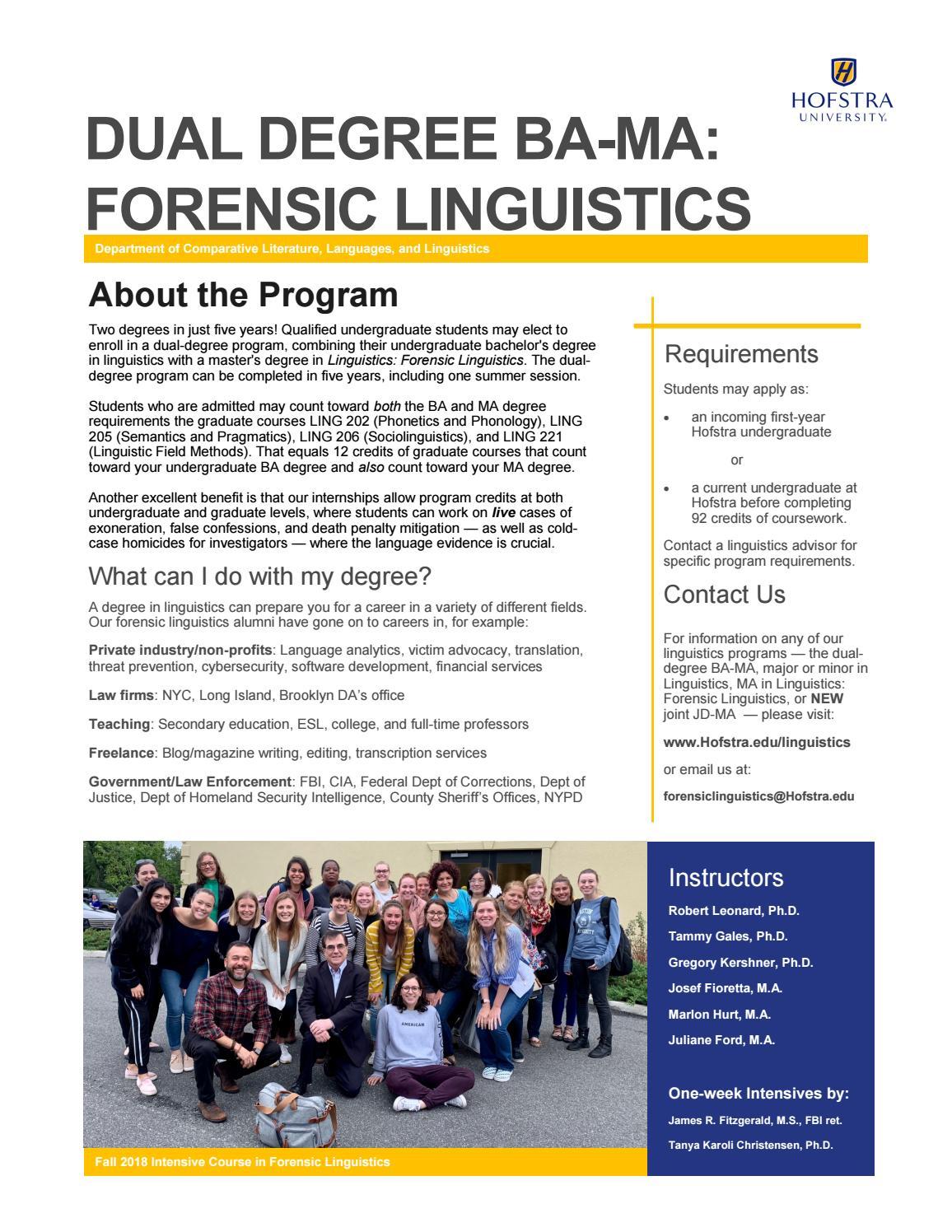 Dual Degree Ba Ma Forensic Linguistics By Hofstra University Issuu