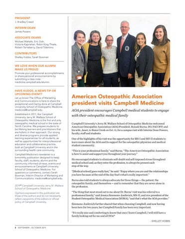 Page 2 of American Osteopathic Association president visits Campbell Medicine