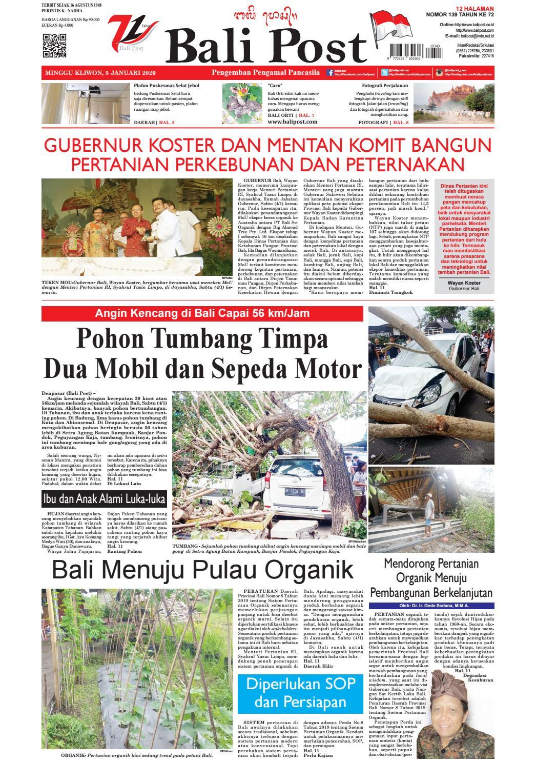 Edisi Minggu 5 Januari 2020 Balipost Com By E Paper Kmb Issuu