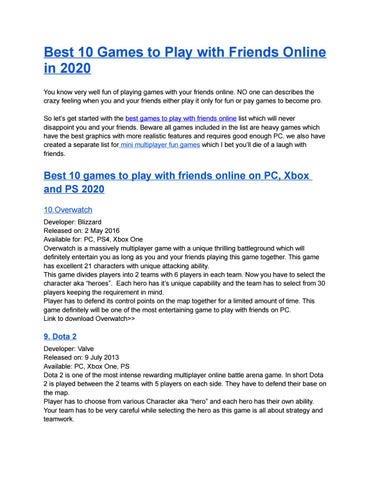 Wondering Which Is The Best Online Multiplayer Games To Play With Friends By Cominggames Issuu