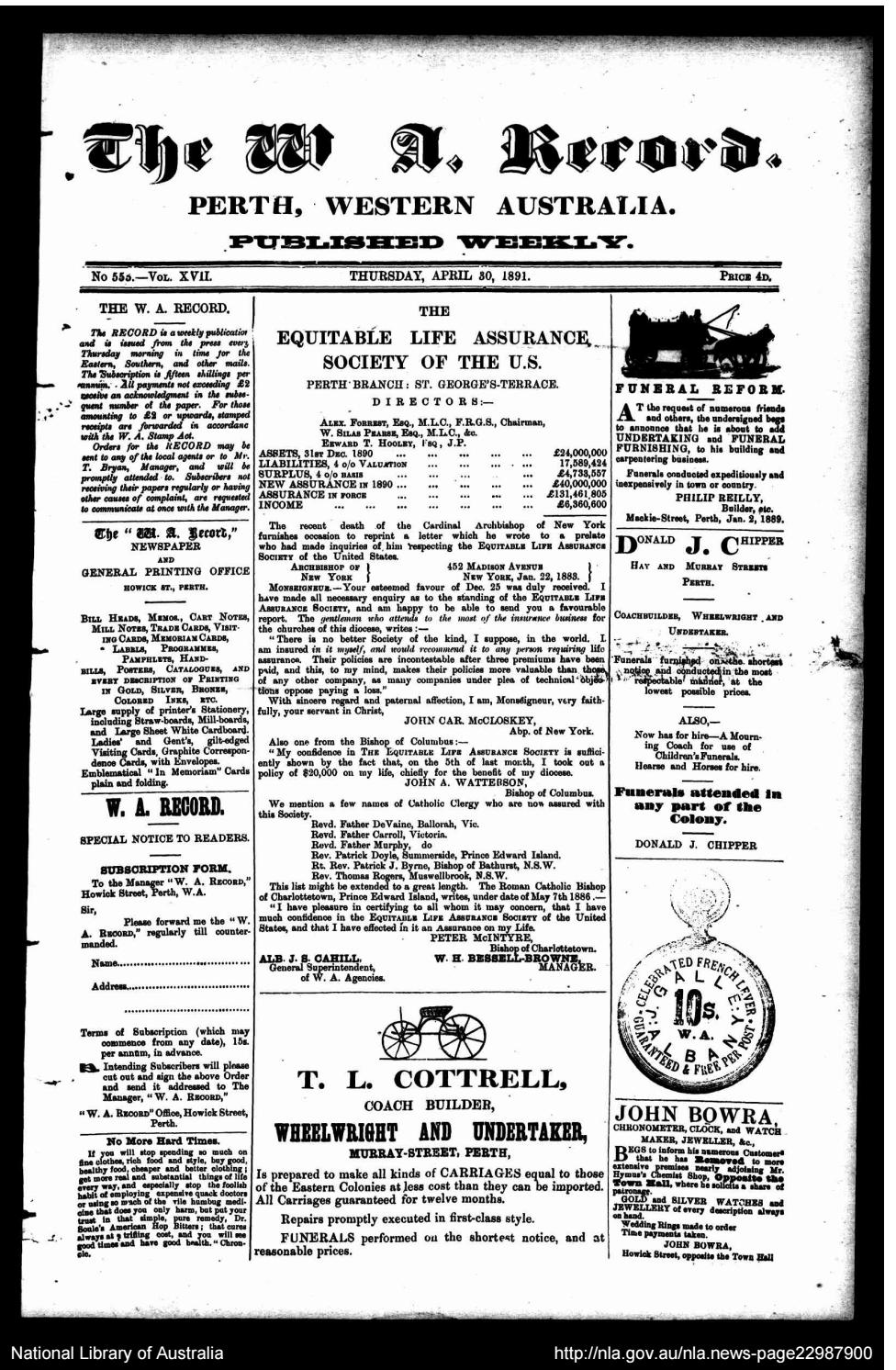 A rischio falena Quasi  The Record Newspaper - 30 April 1891 by The Record - issuu