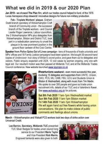 Page 4 of Wolverhampton & Bilston TUC 2020 Plan & 2019 Report of Work