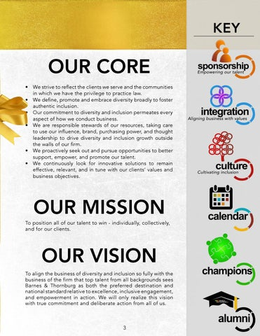 Page 3 of Our Diversity and Inclusion Core, Mission and Vision