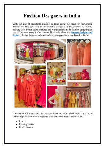 Fashion Designers In India By Nikasha Issuu