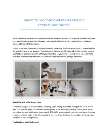 Should You Be Concerned About Holes And S In Your Plaster By