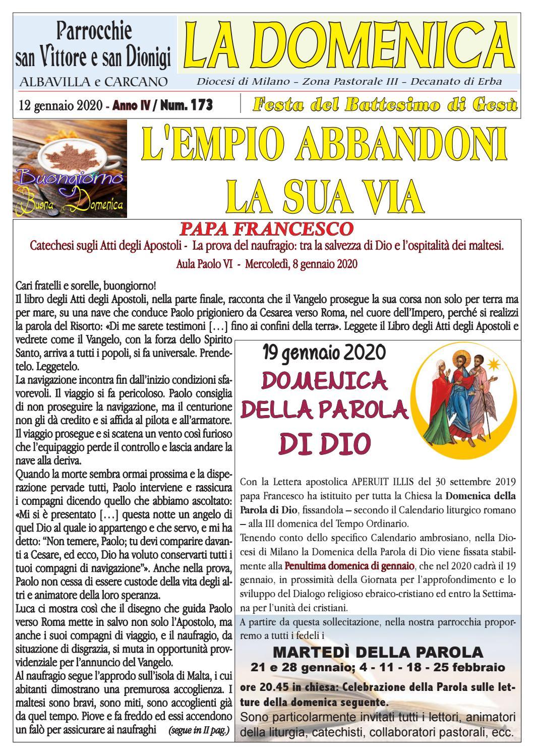 La Domenica Del 12 01 2020 By Parrocchia Di Albavilla Issuu