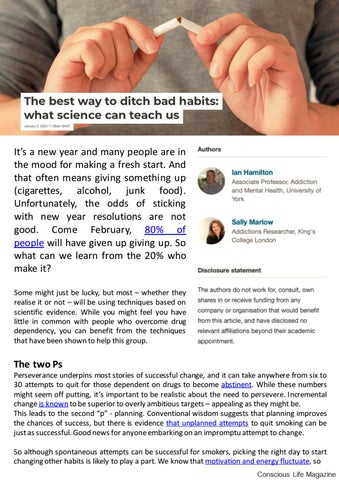 Page 10 of The Best Way to Ditch Bad Habits: What Science Can Teach Us - Conscious Life Online Mag - Jan 2020