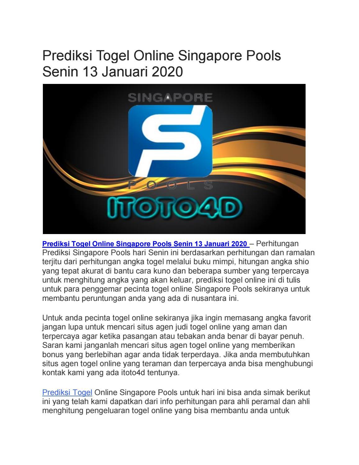 Prediksi Togel Online Singapore Pools Senin  By