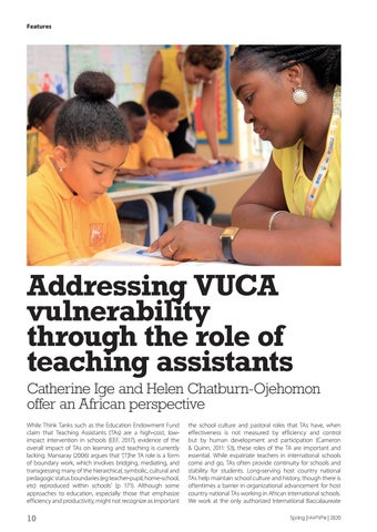 Page 10 of Addressing VUCA vulnerability through the role of teaching assistants