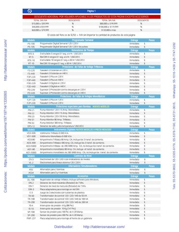 Page 2 of 2018 LISTA DE PRODUCTOS - NASSAR ELECTRONICS - Distribuidor: http://tablerosnassar.com/ PÁGINA 02