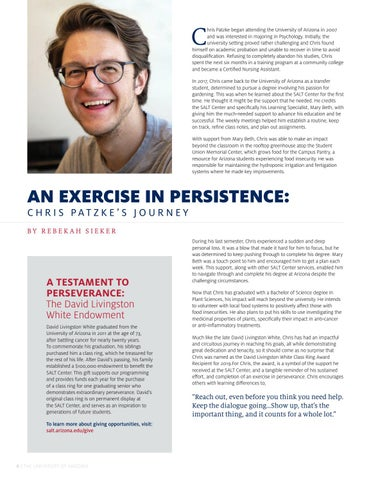 Page 8 of AN EXERCISE IN PERSISTENCE: CHRIS PATZKE'S JOURNEY