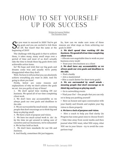 Page 11 of HOW TO SET YOURSELF UP FOR SUCCESS