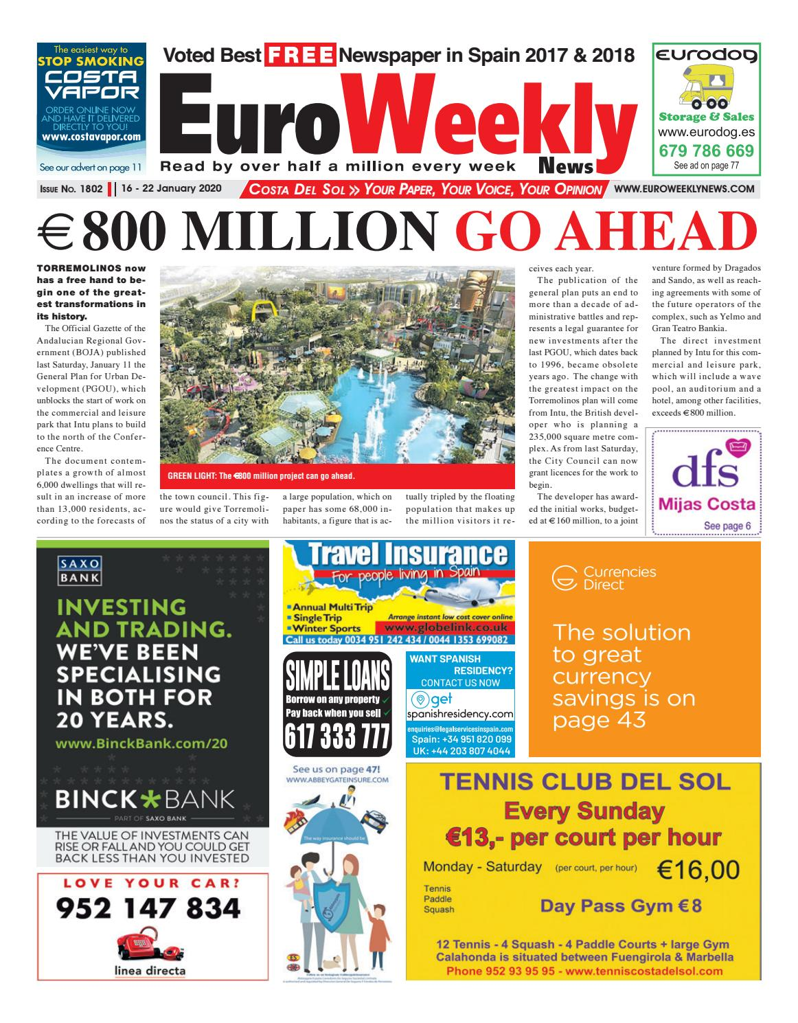 Euro Weekly News Costa Del Sol 16 22 January 2020 Issue 1802