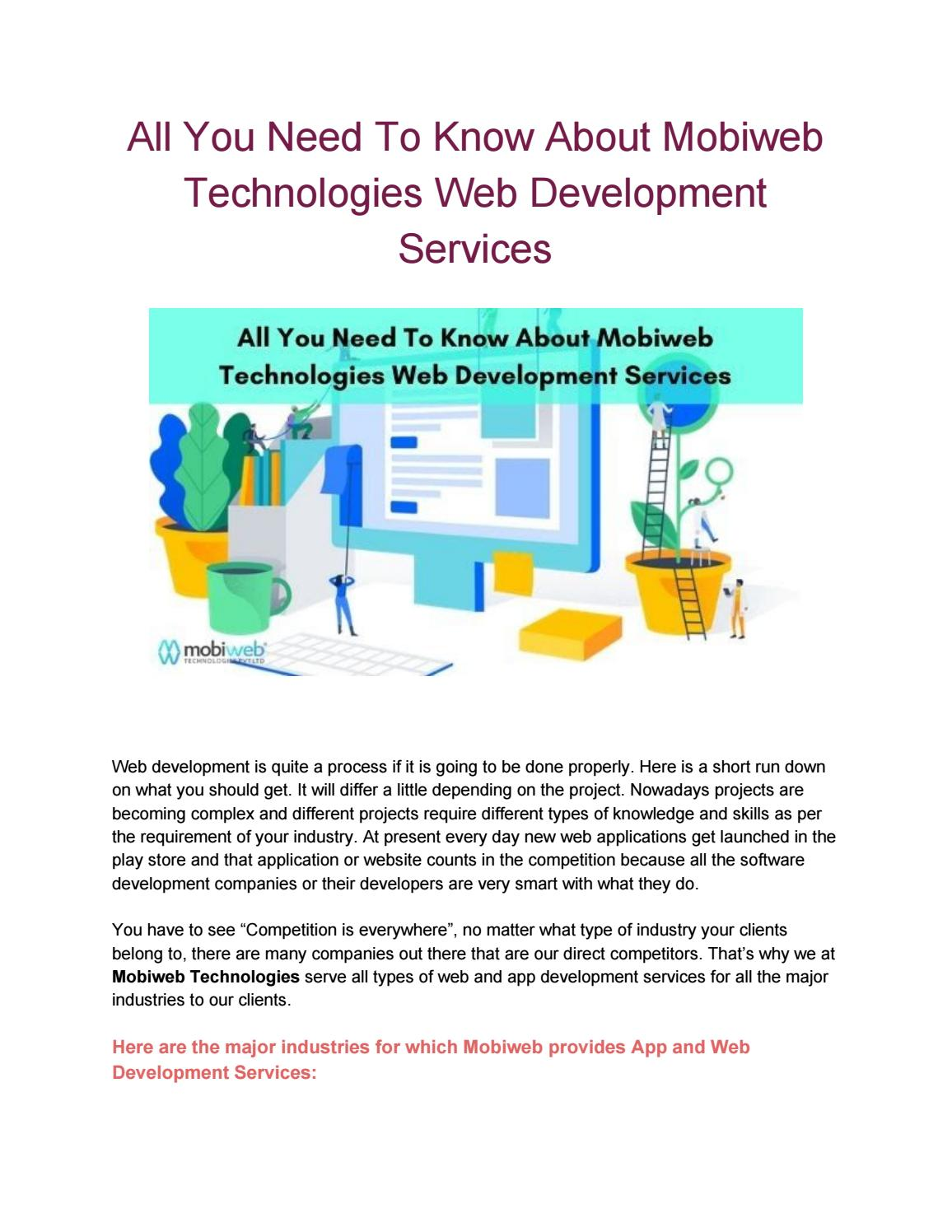 All You Need To Know About Mobiweb Technologies Web Development Services
