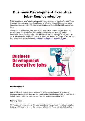 Get Business Development Executive Jobs Only At Employndeploy By Employndeploy1 Issuu