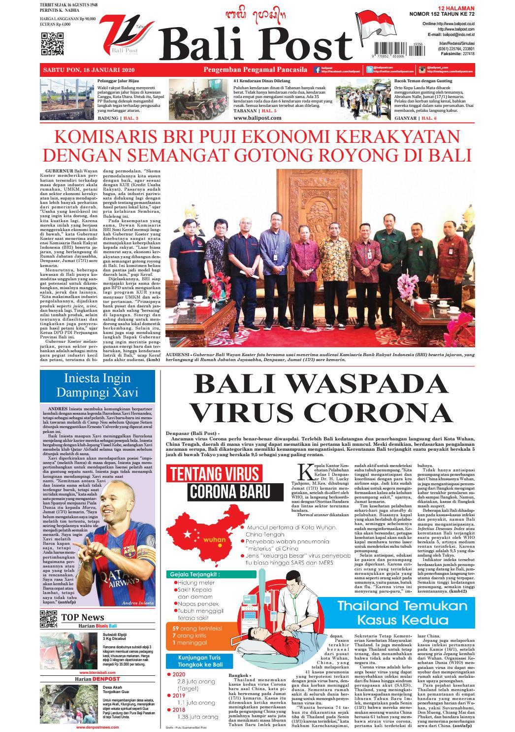 Edisi Sabtu 18 Januari 2020 Balipost Com By E Paper Kmb Issuu