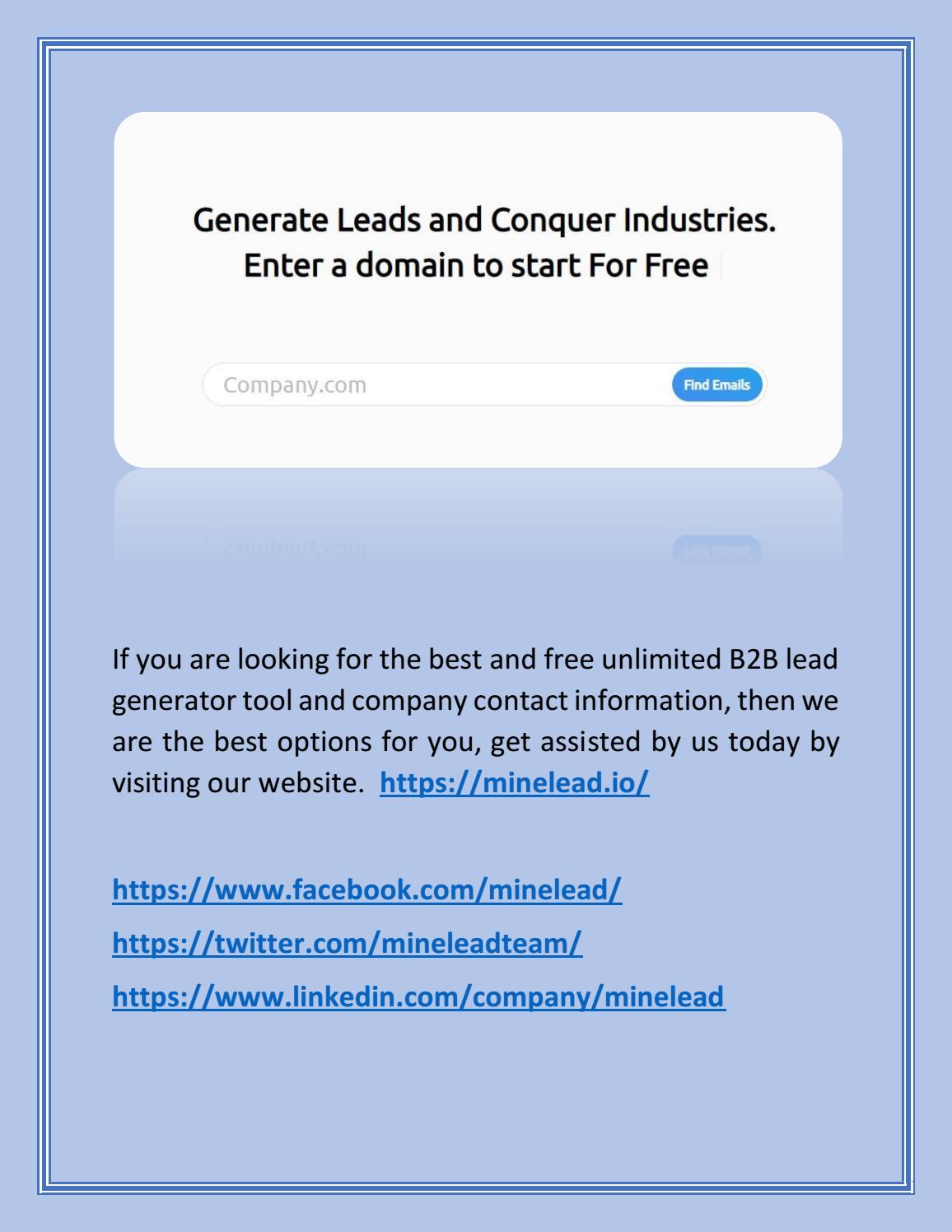 Email Lead Generation Extension   Minelead.io by mineleadltd   issuu