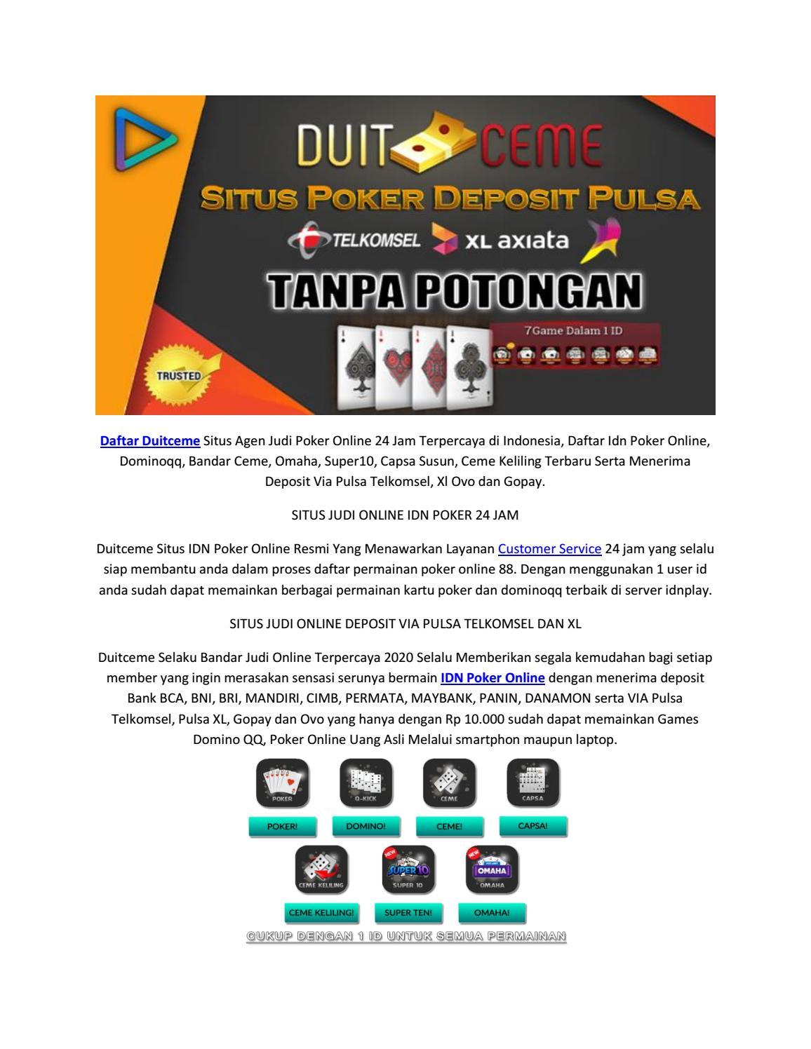Daftar Situs Idn Poker Online 88 Terpercaya Deposit Via Pulsa By Yuli Ceme Issuu