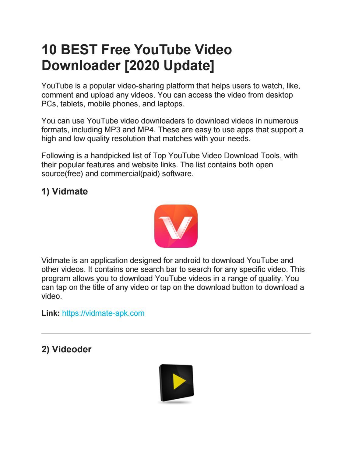 10 Best Free Youtube Video Downloader 2020 Update By Bitdownloader Issuu