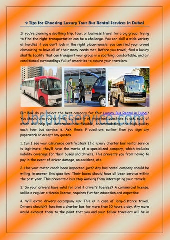 9 Tips For Choosing Luxury Tour Bus Rental Services In Dubai By Ubrbus Service Issuu