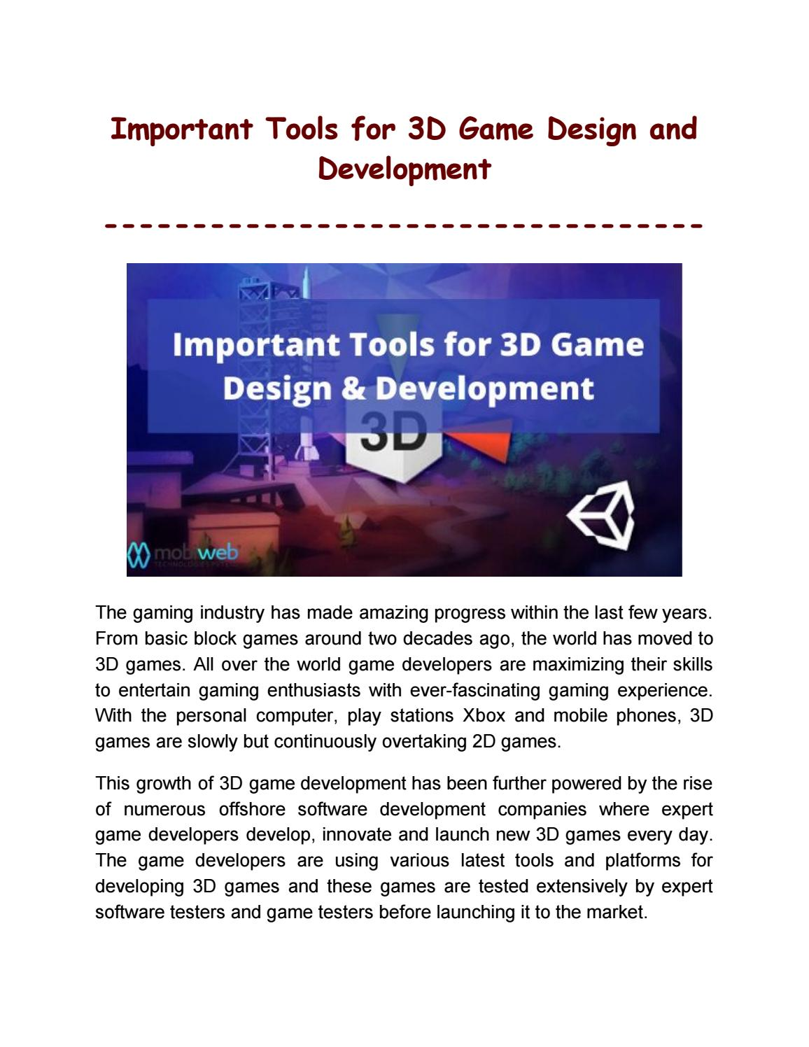Most Essential Tools for 3D Game Design and Development