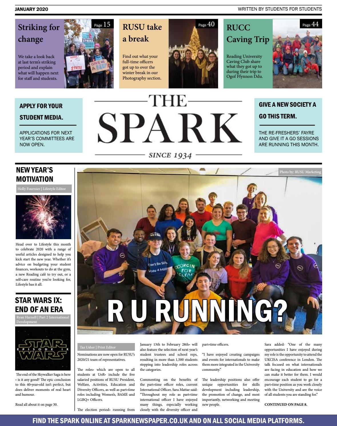 Spark Newspaper January 2020 By Reading University Students