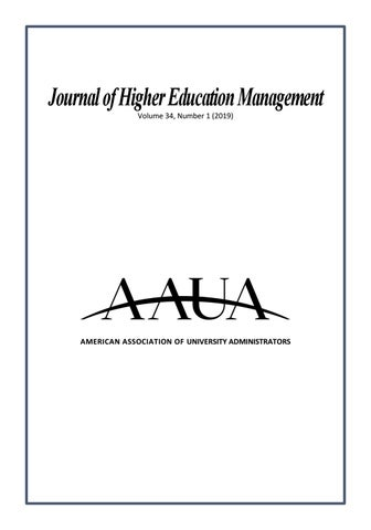 Journal Of Higher Education Management 34 1 2019 By Aaua