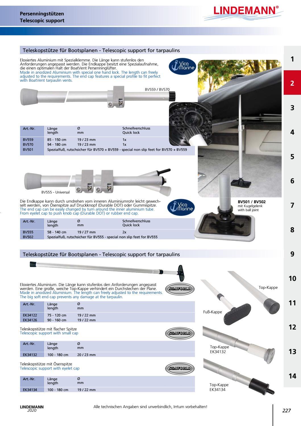 Teleskop-Stütze für Bootsplanen 90-160cm Aluminium