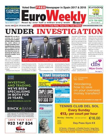 Euro Weekly News Costa Del Sol 23 29 January 2020 Issue 1803 By Euro Weekly News Media S A Issuu