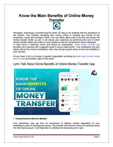 Benefits Of Online Money Transfer