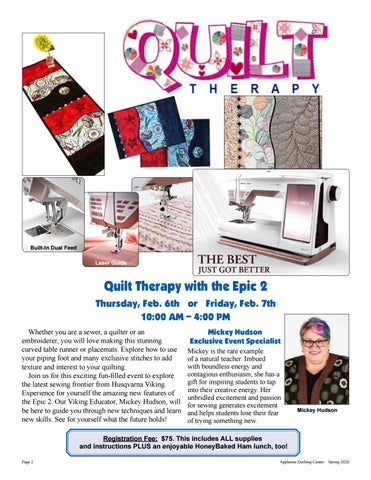 Page 2 of Appletree Quilting Center's Quilt Therapy with the Epic 2