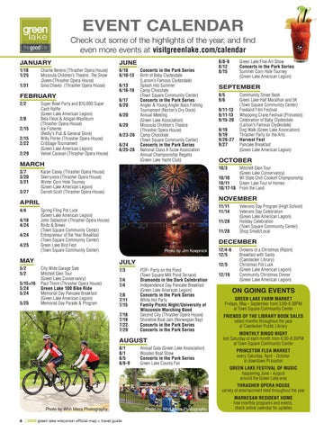Page 8 of Event Calendar, Green Lake, WI